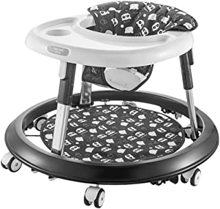 Baby Walkers, Anti-Rollover, with Music,Easy to Fold Adjustable Seat Height Activity Walker Tray (Color : Black)