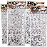 MDS Brand Weihnachten Buchstaben 4X Selbstklebend für Scrapbook & Fotobuch (Silber)