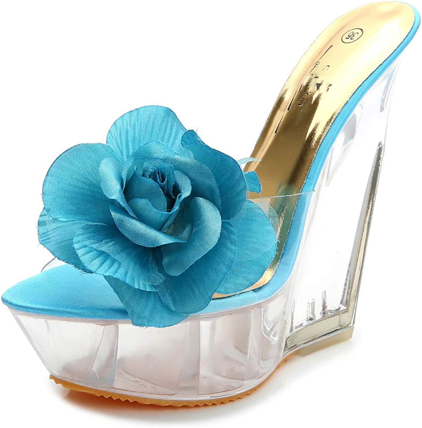 Womens Wedges Women's shoes Open Toe Ladies Flowers High Heel Crystal shoes Platform Party shoes Ultra High Heel Slippers