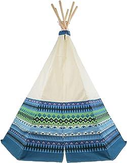 Tipi Spielzelt für Kinder Wigwam Spiel-Zelt, Holzstangen und Blau Azteken-Print Baumwolle, Garden Games 3042
