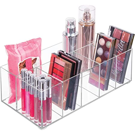 mDesign organiseur maquillage – boîte de rangement maquillage avec six compartiments pour produits de maquillage, vernis à ongles et produits de beauté – rangement make up idéal – transparent