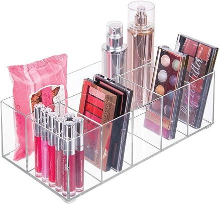 mDesign Organizer per cosmetici ? Box a 6 scomparti per riordinare trucchi, flaconi e altri accessori da bagno ? trasparente