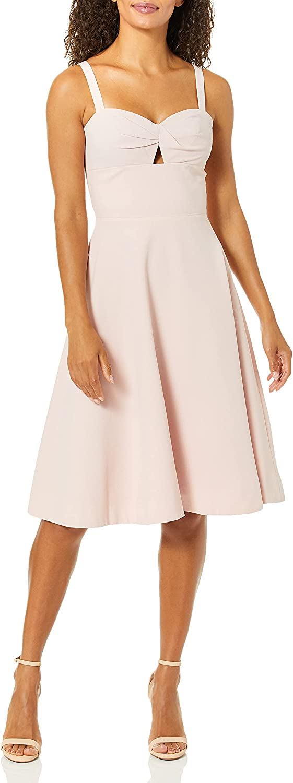 Dress the Population Women's Bianca Sleeveless Cut-Out FIT & Flare MIDI Dress, Powder Blush, XXS