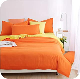 New Bedding Sets Smoked Purple Simple Color Lake Blue Striped Bed Sheet Duvet Quilt Cover Pillowcase Soft King Queen Full Twin,Orange,Queen Cover 200by230