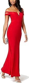 Women Dress Petite Off The Shoulder Split Neck Gown Red 12P