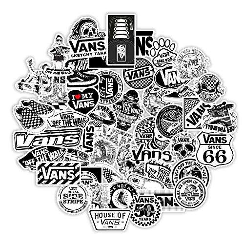 TUHAO White And Black Vans Stickers For Scrapbooking Laptop Guitar Skateboard Suitcase Decal Animal Puppy Sticker 50Pcs