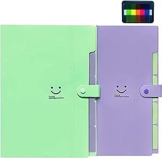 イニシャルハート5ポケットの2色の拡張ファイルフォルダーアコーディオンフォルダーオーガナイザーA4レターサイズプラスチックスナップクロージャーペーパーオーガナイザードキュメントホルダー学校やオフィス、旅行に使用 (グリーン-パープル)