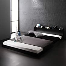 ベッド 低床 ロータイプ すのこ 木製 宮付き 棚付き コンセント付き シンプル モダン ブラック セミダブル ポケットコイルマットレス付き 『Senttele』 セントル