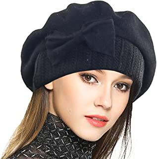 VECRY Lady French Beret 100% Wool Beret Floral Dress Beanie Winter Hat