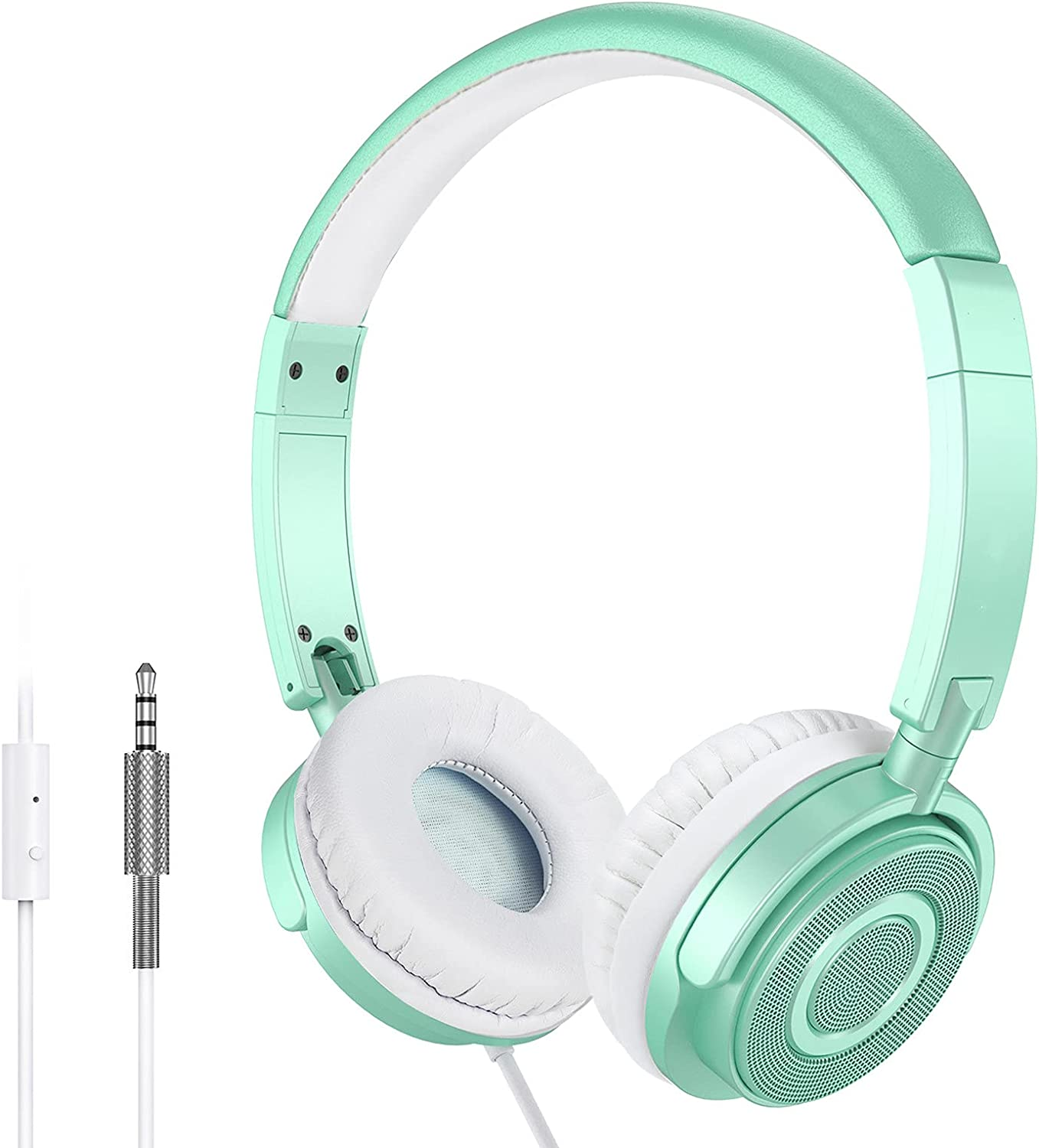 On Ear Headphones with Microphone, Lightweight Portable Foldable Headsets with Stereo Bass, 1.5M Tangle Free Cord, Adjustable Headband for Adults at Home Office Travel, Green