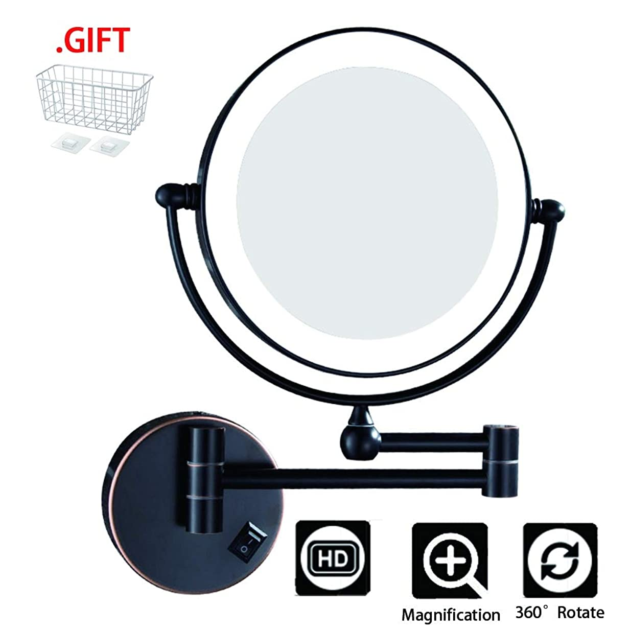 満足させる内向きほめる3X化粧鏡、折りたたみ式LED照明増幅機能、男性用シェービングレディースビューティーに最適,Blackbronze,EU2/warmlight