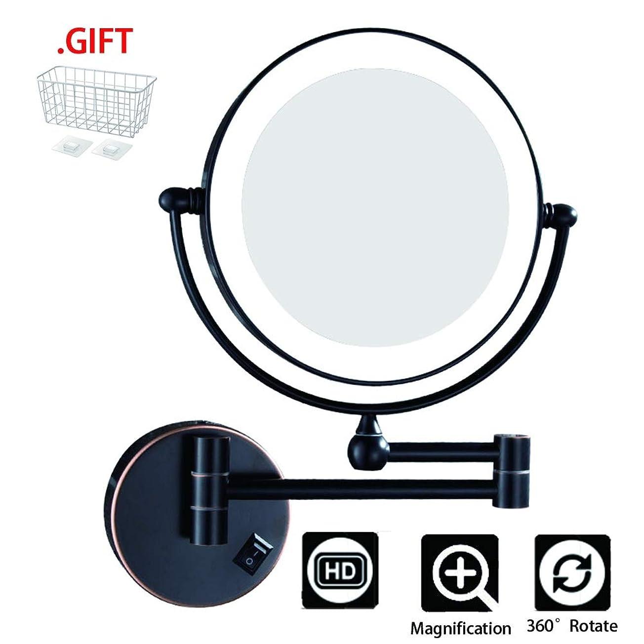 お互いあらゆる種類の威信3X化粧鏡、折りたたみ式LED照明増幅機能、男性用シェービングレディースビューティーに最適,Blackbronze,EU1/coldlight