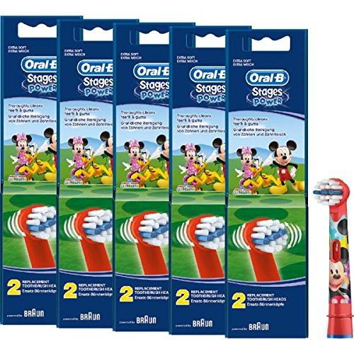 Braun Oral-B Stages Power Kids Aufsteckbürsten Micky Maus 10er Pack Bürstenköpfe Kinder (5 x 2er Pack EB10-2K) Mickey Mouse