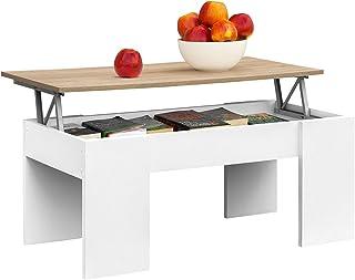 COMIFORT Mesa Centro Elevable - Mesa Salón Funcional con Gran Almacenaje Estilo Moderno Muy Resistente Color Blanco y R...