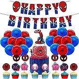 Kit de Decoracion Cumpleaños Superheroes Spiderman Pancartas Globos de Superheroes Cake Toppers de Fiesta Temáticos Superhéroe Suministros