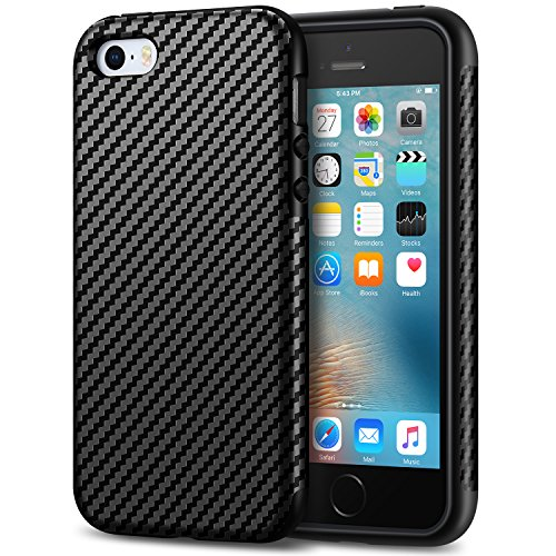 Tasikar kompatibel med iPhone SE fodral (2016)/iPhone 5S fodral bra skydd kolfiber läder design skyddsfodral för iPhone 5/5S/SE (svart)