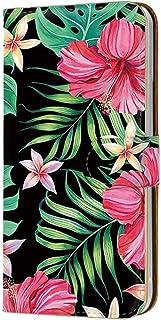 スマホケース 手帳型 カードタイプ Galaxy A8 SCV32 用 [トロピカル風・プルメリア ハイビスカス] 花柄 フラワー ネイティブ柄 ボタニカル SAMSUNG サムスン ギャラクシー エーエイト au スマホカバー 携帯ケース ス...