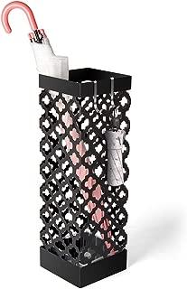 Liheya Metal Umbrella Stand Rack Free Standing Umbrella Holder with Drip Tray and 2 Hooks - Black