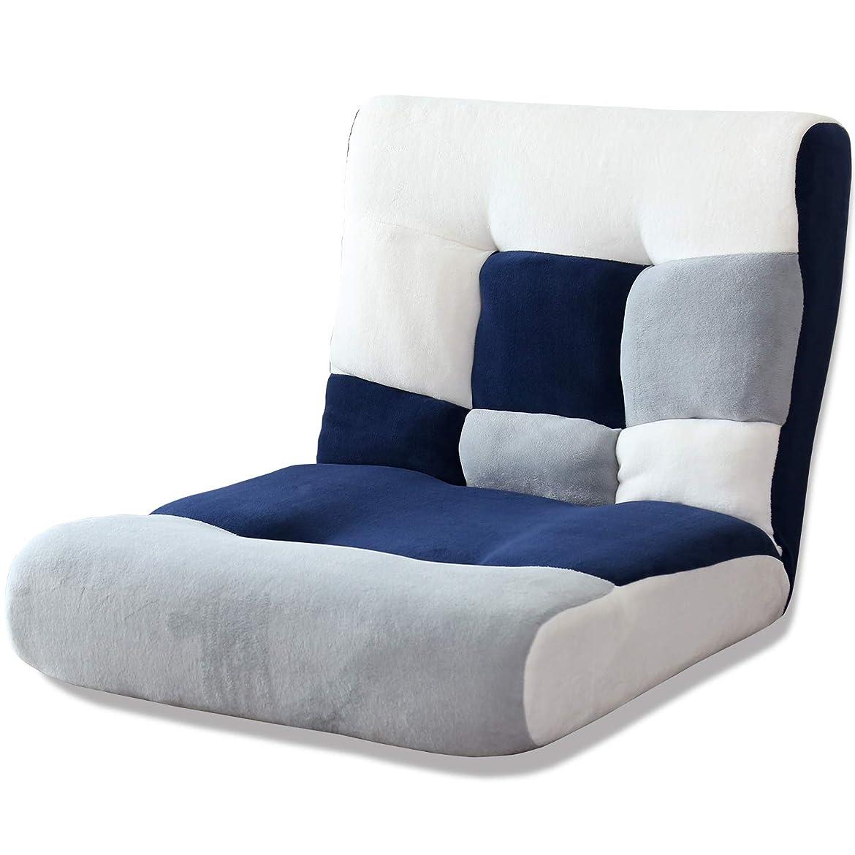 フォーマル息を切らしてヒューズDORIS 座椅子 ワイドサイズ 幅80 ハイバック 42段階 リクライニング ポケットコイル パッチワークブルー ヌイ