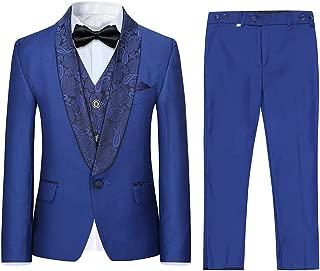 Boys 3 Pieces Tuxedo Suits Jacquard Shawl Lapel Slim Fit Tux Jacket Vest Pants 4 Colors Prom Party Wedding