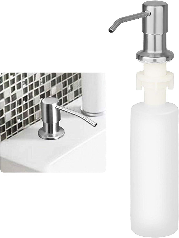 Dispensador de jabón de Cocina, Dispensador de Detergente fregadero rotación de 360 ° Bomba Dispensador de loción de acero inoxidable 300ml Botella Dispensador para cocina baño