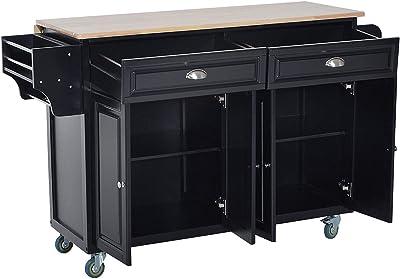 Amazon.com - HOMCOM Wood Top Drop-Leaf Rolling Kitchen ...