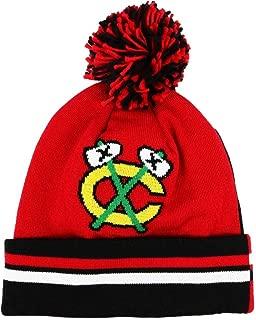 Mitchell & Ness NHL Vintage Jersey Stripe Hi Five Knit Hat with Pom