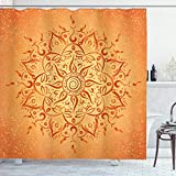 Ambesonne Lotus Shower Curtain, Sun Pattern with Ombre Effect Mandala Culture Print, Cloth Fabric Bathroom Decor Set with Hooks, 70' Long, Orange