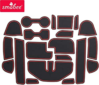 SMABEE Anti-Slip Gate Slot Pad Rubber Cup Holders Mat and Center Console Liner Interior Decoration Accessories for Nissan Navara NP300 D23 2016-2019 (red)