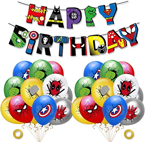 Kit de decoraciones de cumpleaños de superhéroes, globos de látex de superhéroes, pancarta de fiesta de superhéroes, suministros de fiesta temáticos de superhéroes para los fanáticos de los cómics