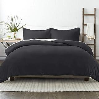 NIERBO 3 Pièce Housse de Couette 220x240cm avec 2 Taies d'oreiller 65x65cm Noir 120g/㎡ Plus Epais Parure de Lit Adulte