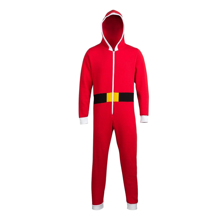 (コンフィー?コー) Comfy Co メンズ クリスマス フード付き サンタクロースつなぎ オールインワンパジャマ ルームウェア つなぎパーカー 冬 男性用