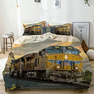 Mokale Duvet Cover Twin,Antique Steam Engine Vintage Steam Locomotive Train Mountain Natural Scenery,100% Washed Microfiber 3pcs Bedding Set with 2 Pillow Shams,Reversible Beige,Zipper Closure