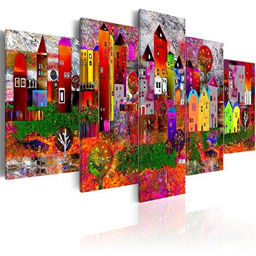 murando - Bilder abstrakte Stadt 225x112 cm Vlies Leinwandbild 5 TLG Kunstdruck modern Wandbilder XXL Wanddekoration Design Wand Bild - Bunte Häuser Gebäude wie gemalt d-A-0052-b-m