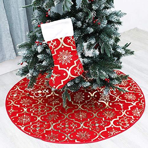 HNJKJEU 120 cm Falda de árbol de Navidad Rojo con Calcetín de Navidad Grande, Copo de Nieve Carpet Cover Funda con Diseño de Muñeco de Nieve Decoración de Navidad y Regalos en la Base del Árbol