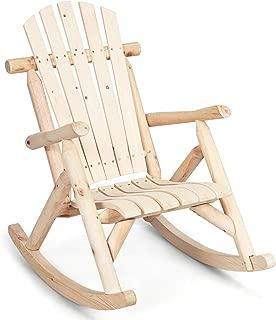 Giantex Log Rocking Chair Wood Porch Rocker Lounge Patio Deck Balcony Furniture Rustic Single Rocker Natural