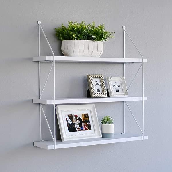 WELLAND 3 Tier Display Wall Shelf Storage Rack Wall Rack Holder Rack White