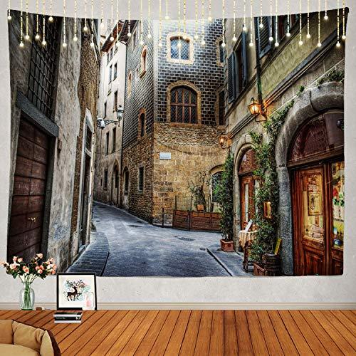 N\A Hermoso Tapiz, Florencia Italia Colgante de Pared Tapiz Grande Tapiz psicodélico Decoraciones Dormitorio Sala de Estar Dormitorio (Escena de la Calle marrón)
