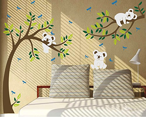 """Luckkyy - Adesivi decorativi da parete per cameretta dei bambini, motivo: albero con rami e koala, Vinile, Multi, 80\""""W x 112\""""H"""