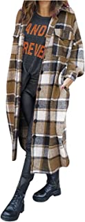 Geruit overhemd dames lange wollen mantel vrouwen overgangsjassen lange revers wollen mantel rode parka dames herfst winte...