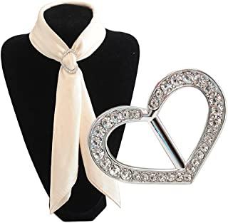 Sciarpe di lusso alla moda in metallo con strass e fibbia in seta Sarf clip per abbigliamento, fazzoletto da collo, per do...