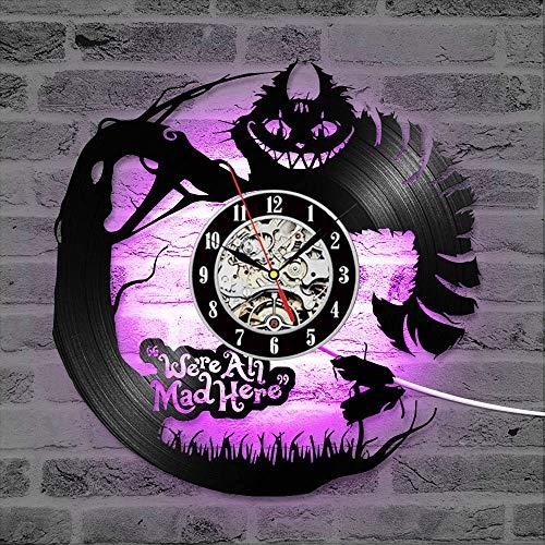wtnhz LED Colorful vinyl wall clock 3D cartoon vinyl record LED clock creative CD record clock antique wall clock home decoration