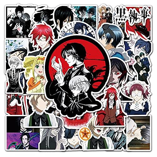 KPSHY Kuroshitsuji Cartoon Waterproof Graffiti Stickers Anime DIY Pegatinas Decorativas para Maletas, Fundas para teléfonos móviles, Computadoras portátiles, Tazas de Agua, Scooters, Coches