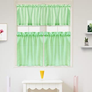 IDEALHOUSE 3 Pieces Waffle Woven Textured Tier Curtains and Window Valance Set for Bathroom Kitchen, Fabric Pure Color Rod Pocket,Seafoam Green(60