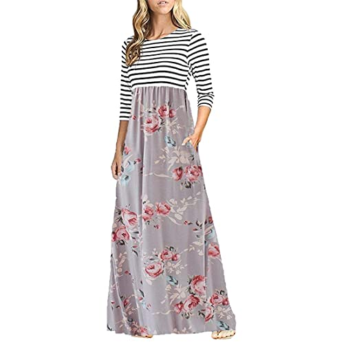 1fb4df7068c OURS Women s Striped Floral Print Elastic Waist 3 4 Sleeve Maxi Dress with  Pockets