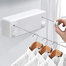 Mixen Retractable Clothesline with Adjustable Stainless Steel Double Rope String Hotel Style Heavy Duty for Bathroom, Wall Mounted Laundry Drying Line for Shower, 4.2M Indoor Clothes Line Multi-Color