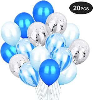 Blue & Silver Confetti Balloons Set for Birthday Party Decorations Wedding Baby Showers Christmas Festival Ceremony [12 Inch, Pack of 20] (Blue)