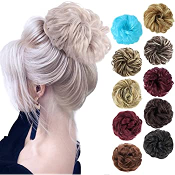 MORICA 1PCS Messy Hair Bun Hair Scrunchies Extension Curly Wavy Messy Synthetic Chignon for Women Updo Hairpiece