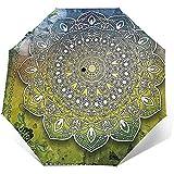 Paraguas de viaje Mystic Asian Mandala Zen Culture, paraguas de protección solar ligero a prueba de viento, botón de apertura y cierre automático