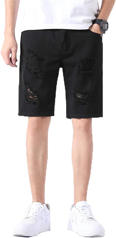 Yiqinyuan Classic Men's Ripped White Denim Shorts Summer Fashion Slim Hole Cotton Short Jeans Male Black Khaki Black 34